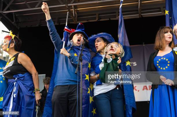 Fashion designer Katharine Hamnett takes part in People's March for Europe rally in Parliament Square Demonstrators protested against Britain's...