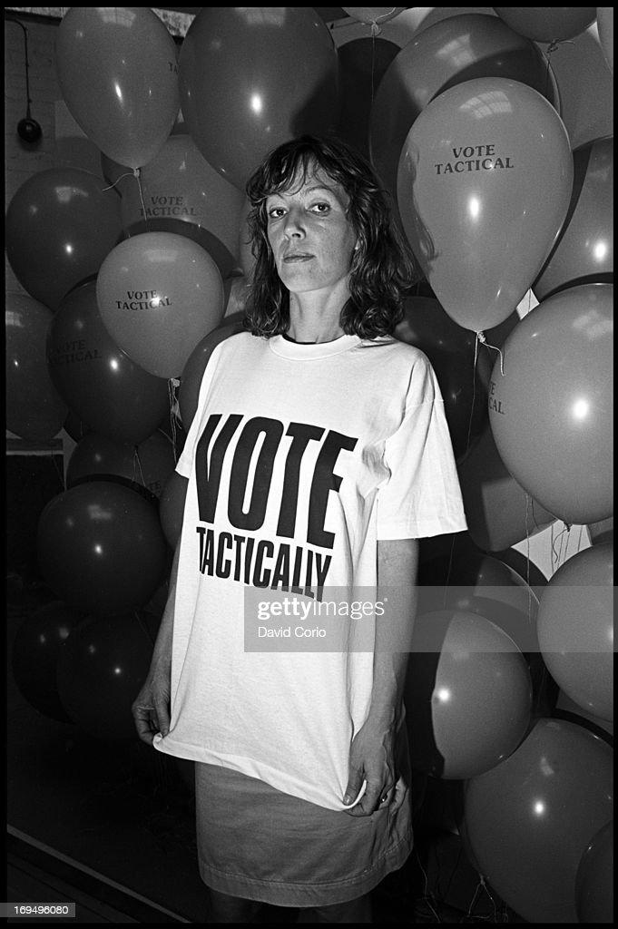 Fashion designer Katherine Hamnett at Orinoco Studios London modelling one of her political tshirt designs carrying the slogan 'Vote Tactically' 26...