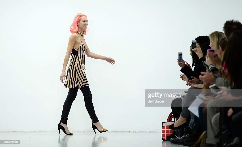 Fashion designer Katie Eary is seen on the runway at the Katie Eary show during The London Collections Men AW16 at Victoria House on January 11 2016...