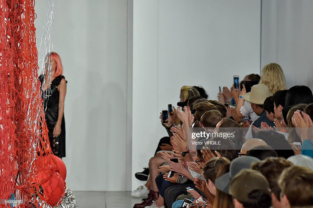 Fashion designer Katie Eary walks the runway at the Katie Eary show during The London Collections Men SS17 on June 13 2016 in London England