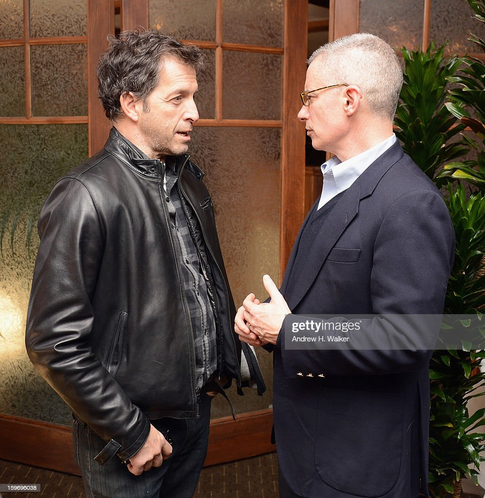 Fashion designer Kenneth Cole and Gov. Jim McGreevey talk at the 'Fall To Grace' and 'The Battle Of AMFAR' Brunch hosted by HBO on January 18, 2013 in Park City, Utah.