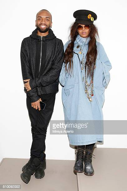 Fashion designer Kerby JeanRaymond and stylist and singersongwriter Erykah Badu pose backstage at the Pyer Moss Fall 2016 fashion show during MADE...