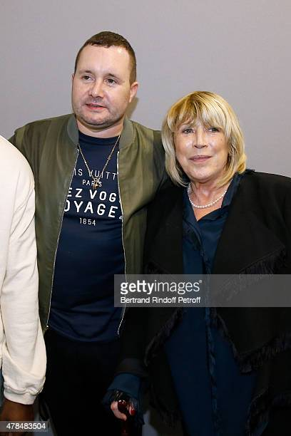 Fashion Designer Kim Jones and Singer Marianne Faithfull pose Backstage after the Louis Vuitton Menswear Spring/Summer 2016 show as part of Paris...