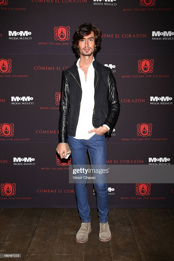 Fashion Designer Kris Goyri attends the Comeme El corazon Moda Tocada Por Los Dioses event at Estacion Indianilla on January 31, 2013 in Mexico City, Mexico.