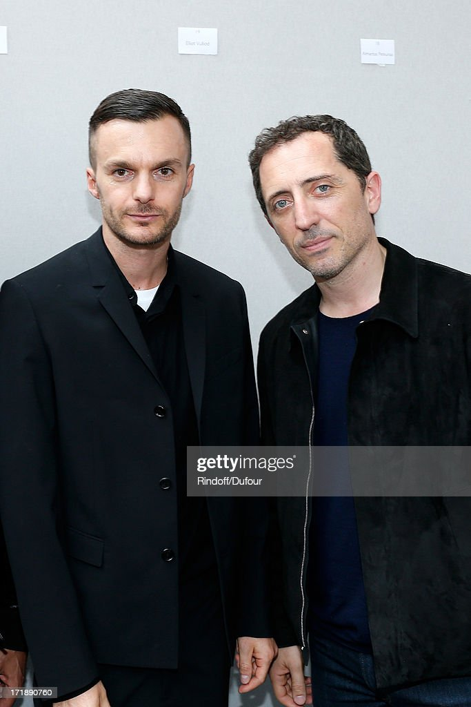 Fashion designer Kris Van Assche and humorist <a gi-track='captionPersonalityLinkClicked' href=/galleries/search?phrase=Gad+Elmaleh&family=editorial&specificpeople=586672 ng-click='$event.stopPropagation()'>Gad Elmaleh</a> backstage after Dior Homme Menswear Spring/Summer 2014 Show as part of the Paris Fashion Week on June 29, 2013 in Paris, France.