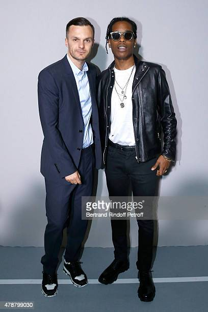 Fashion designer Kris Van Assche and Rapper ASAP Rocky pose Backstage after the Dior Homme Menswear Spring/Summer 2016 show as part of Paris Fashion...