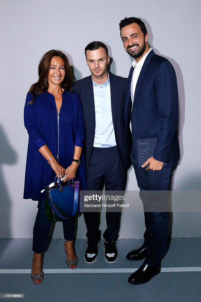 Fashion designer Kris Van Assche standing between Katia Toledano and her son Alan Toledano pose Backstage after the Dior Homme Menswear Spring/Summer 2016 show as part of Paris Fashion Week on June 27, 2015 in Paris, France.