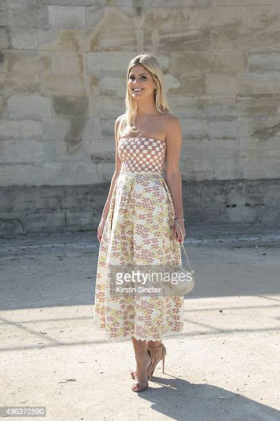 Fashion Designer Lala Rudge wears a Lolita dress Chanel bag and Uza shoes on day 5 during Paris Fashion Week Spring/Summer 2016/17 on October 3 2015...
