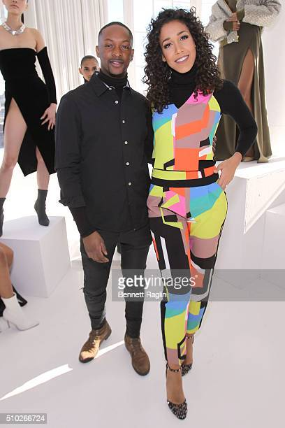 Fashion designer LaQuan Smith and Entertainment Reporter at Fox5 Simone Boyce pose during SheaMoisture at Laquan Smith F/W 2016 NYFW at Jack Studios...