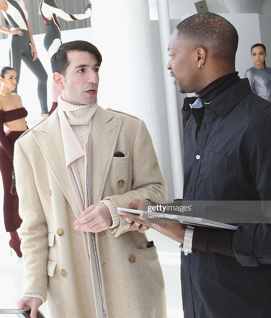 Fashion designer LaQuan Smith (R) and guest pose during SheaMoisture at Laquan Smith F/W 2016 NYFW at Jack Studios on February 14, 2016 in New York City.