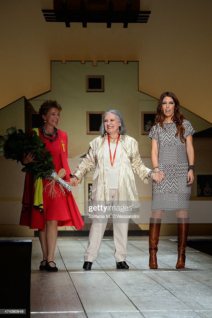 Fashion designer <a gi-track='captionPersonalityLinkClicked' href=/galleries/search?phrase=Laura+Biagiotti+-+Fashion+Designer&family=editorial&specificpeople=7024760 ng-click='$event.stopPropagation()'>Laura Biagiotti</a> (C) walks the runway after her show as part of Milan Fashion Week Womenswear Autumn/Winter 2014 on February 23, 2014 in Milan, Italy.