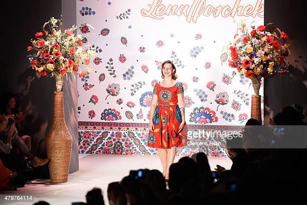Fashion designer Lena Hoschek walks the runway during the MercedesBenz Fashion Week Berlin Spring/Summer 2016 at Brandenburg Gate on July 7 2015 in...