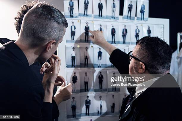 Fashion designer Lucas Ossendrijver and artistic director Alber Elbaz are photographed backstage at the Lanvin Spring/Summer 2015 Men's collection...