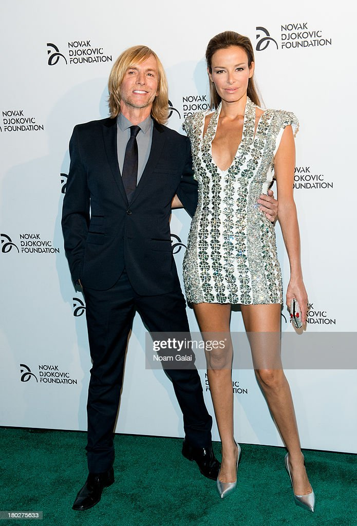 Fashion designer Marc Bouwer and model Carolina Parsons attend the The 2013 Novak Djokovic Foundation Dinner at Capitale on September 10, 2013 in New York City.