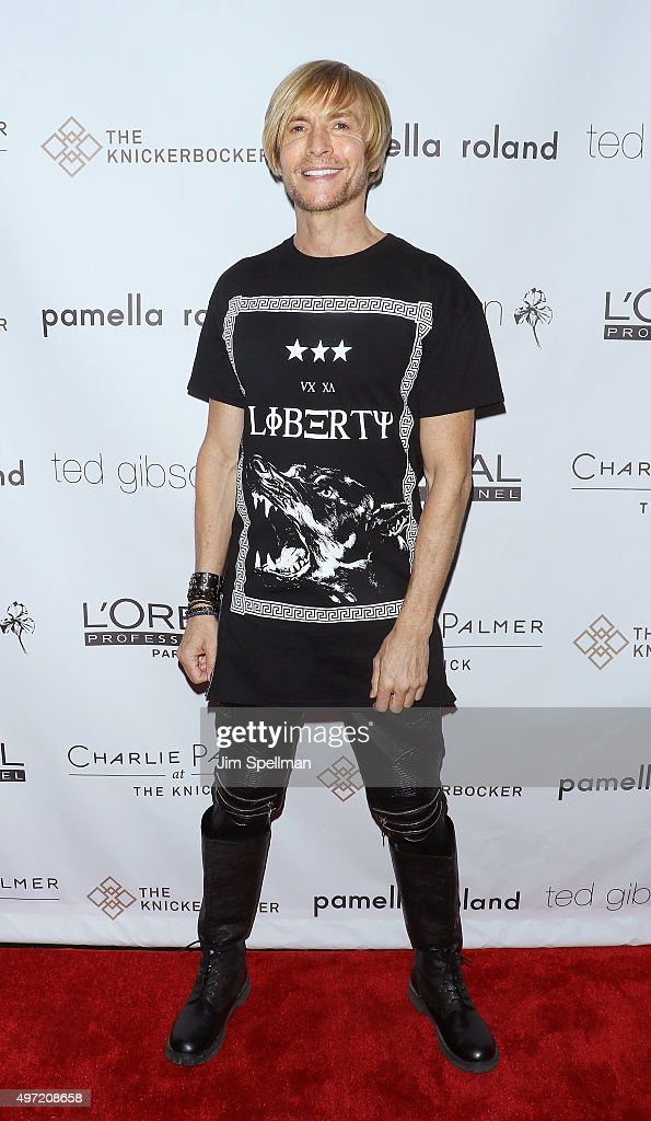 Fashion designer Marc Bouwer attends the Ted Gibson's 50th birthday celebration at the Knickerbocker Hotel Rooftop on November 14 2015 in New York...