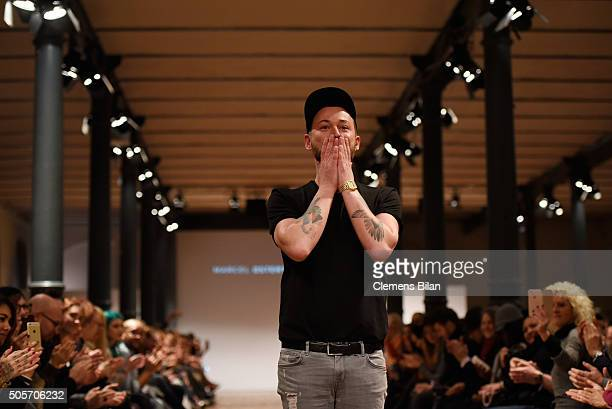 Fashion designer Marcel Ostertag attends his show during the MercedesBenz Fashion Week Berlin Autumn/Winter 2016 at Heeresbaeckerei on January 19...