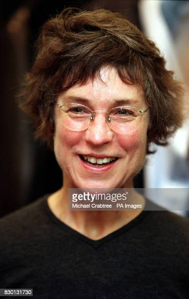 Fashion designer Margaret Howell smiles at the Savile Row outlet for her menswear collection during London Men's Fashion Week