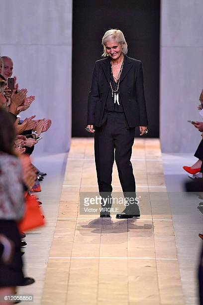Fashion designer Maria Grazia Chiuri walks the runway during the Christian Dior Ready to Wear fashion show as part of the Paris Fashion Week...