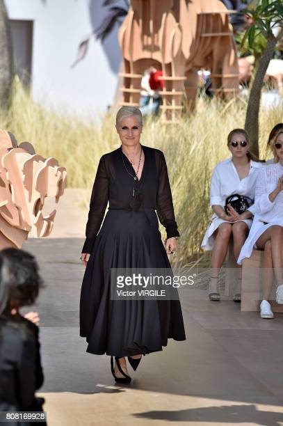 Fashion designer Maria Grazia Chiuri walks the runway during the Christian Dior Haute Couture Fall/Winter 20172018 show as part of Haute Couture...