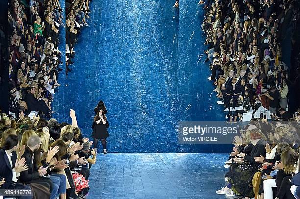 Fashion designer Mary Katrantzou walks the runway at the Mary Katrantzou Ready to Wear show during London Fashion Week Spring/Summer 2016/17 on...