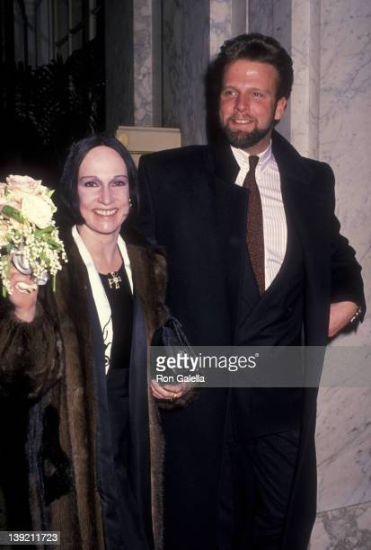 Fashion Designer Mary McFadden and date attend Sid BassMercedes Kellogg Wedding Ceremony on December 10 1988 at the Plaza Hotel in New York City