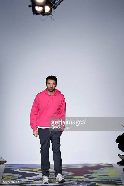 Fashion designer Massimo Giorgetti walks the runway at the Emilio Pucci Ready to Wear fashion show during Milan Fashion Week Fall/Winter 2017/18 on...