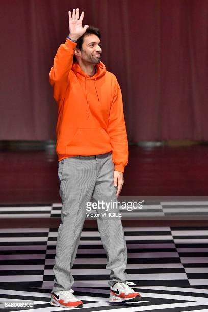 Fashion designer Massimo Giorgetti walks the runway at the MSGM Ready to Wear fashion show during Milan Fashion Week Fall/Winter 2017/18 on February...