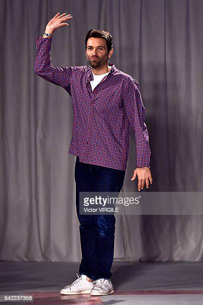 Fashion designer Massimo Giorgetti walks the runway at the MSGM show during Milan Men's Fashion Week Spring/Summer 2017 on June 20 2016 in Milan Italy