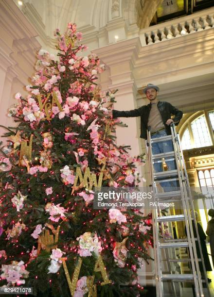 Fashion designer Matthew Williamson launches his Christmas tree especially created for the VA's Grand Entrance in Cromwell Road London Over 1000 pink...