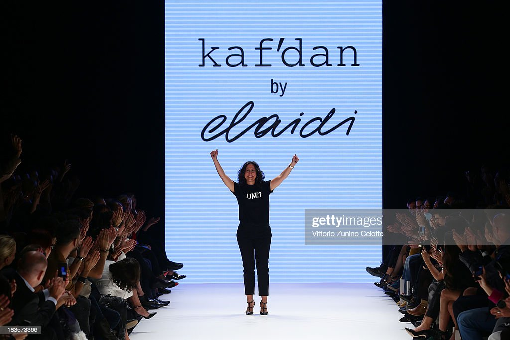 Fashion designer Mehtap Elaidi walks the runway at the Kaf Dan By Elaidi show during Mercedes-Benz Fashion Week Istanbul s/s 2014 presented by American Express on October 7, 2013 in Istanbul, Turkey.