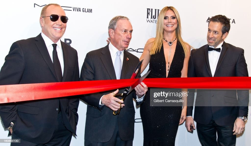 Fashion designer Michael Kors, New York City mayor <a gi-track='captionPersonalityLinkClicked' href=/galleries/search?phrase=Michael+Bloomberg&family=editorial&specificpeople=171685 ng-click='$event.stopPropagation()'>Michael Bloomberg</a>, supermodel <a gi-track='captionPersonalityLinkClicked' href=/galleries/search?phrase=Heidi+Klum&family=editorial&specificpeople=178954 ng-click='$event.stopPropagation()'>Heidi Klum</a> and Kenneth Cole attend amfAR New York Gala To Kick Off Fall 2013 Fashion Week Cipriani Wall Street on February 6, 2013 in New York City.