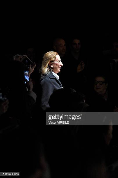 Fashion designer Miuccia Prada walks the runway at the Prada fashion show during Milan Fashion Week Fall/Winter 2016/2017 on February 25 2016 in...