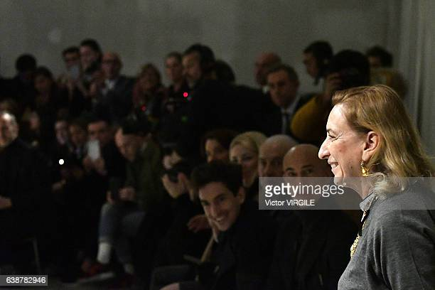 Fashion designer Miuccia Prada walks the runway at the Prada show during Milan Men's Fashion Week Fall/Winter 2017/18 on January 15 2017 in Milan...
