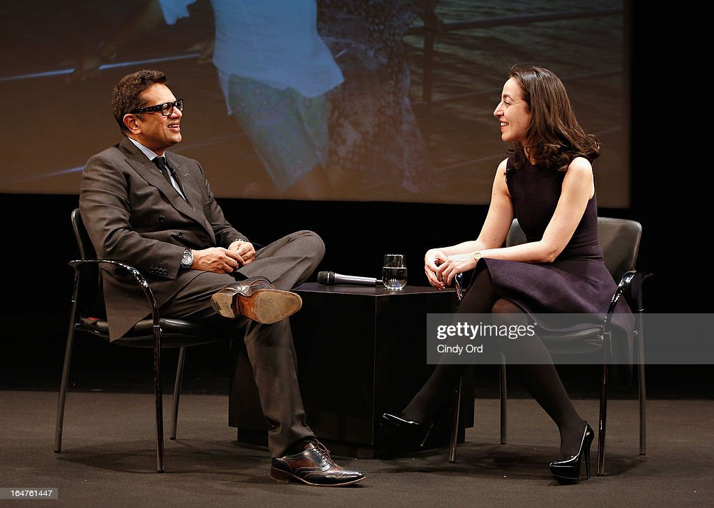 Fashion designer Naeem Khan and Chief Curator of Fashion and Textiles at Les Arts Decoratifs in Paris, Pamela Golbin take part in Fashion Talks 2013 Presents: Naeem Khan at Florence Gould Hall on March 27, 2013 in New York City.