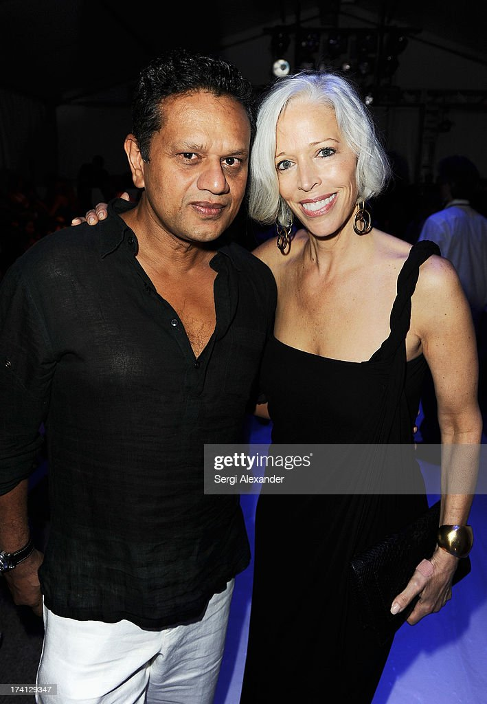 Fashion designer Naeem Khan (L) and <a gi-track='captionPersonalityLinkClicked' href=/galleries/search?phrase=Linda+Fargo&family=editorial&specificpeople=592060 ng-click='$event.stopPropagation()'>Linda Fargo</a> attend the Mara Hoffman Swim show during Mercedes-Benz Fashion Week Swim 2014 at Cabana Grande at the Raleigh on July 20, 2013 in Miami, Florida.