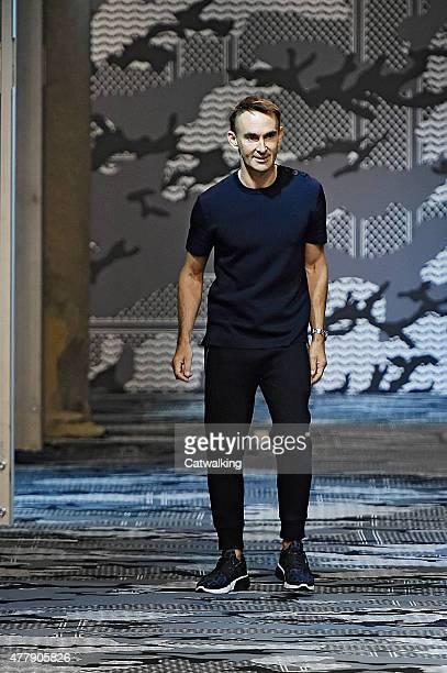 Fashion designer Neil Barrett walks the runway at the Neil Barrett Spring Summer 2016 fashion show during Milan Menswear Fashion Week on June 20 2015...