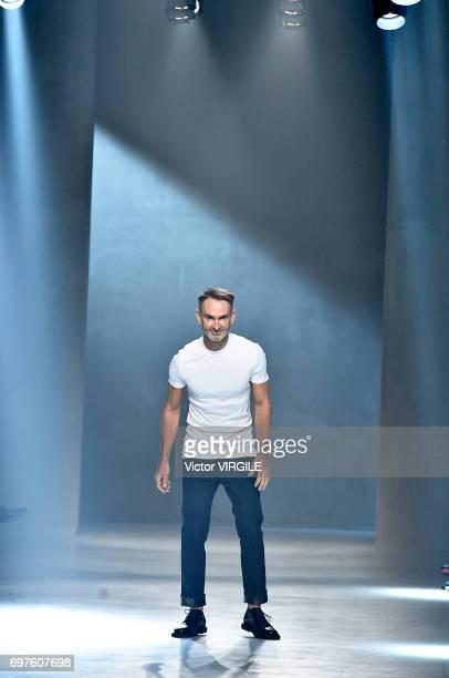 Fashion designer Neil Barrett walks the runway at the Neil Barrett fashion show during Milan Men's Fashion Week Spring/Summer 2018 on June 17 2017 in...