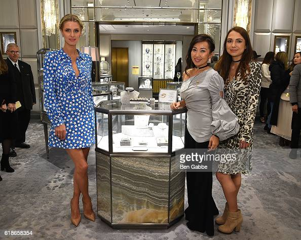 Fashion designer Nicky Hilton Rothschild jewelry designer Tina Craig and founder and CEO of Nouvel Heritage Camille Parruitte attend the Tina Craig x...