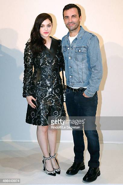Fashion Designer Nicolas Ghesquiere actress Odeya Rush pose backstage after the Louis Vuitton show as part of the Paris Fashion Week Womenswear...