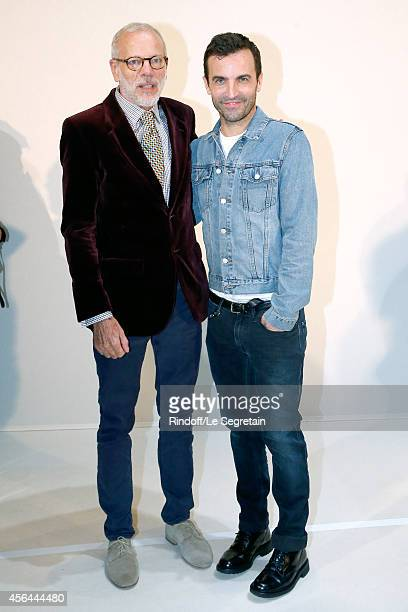 Fashion Designer Nicolas Ghesquiere and actor Pascal Greggory pose backstage after the Louis Vuitton show as part of the Paris Fashion Week...
