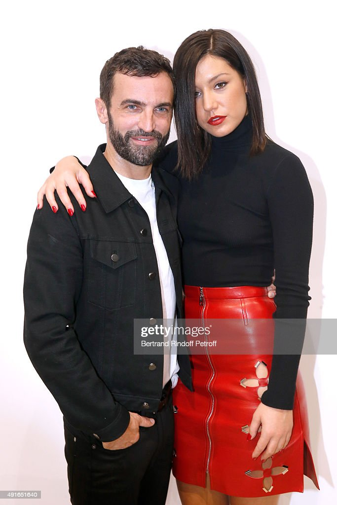Fashion Designer <a gi-track='captionPersonalityLinkClicked' href=/galleries/search?phrase=Nicolas+Ghesquiere+-+Fashion+Designer&family=editorial&specificpeople=4921852 ng-click='$event.stopPropagation()'>Nicolas Ghesquiere</a> and Actress Adele Exarchopoulos pose Backstage after the Louis Vuitton show as part of the Paris Fashion Week Womenswear Spring/Summer2016. Held at Louis Vuitton Fondation on October 7, 2015 in Paris, France.
