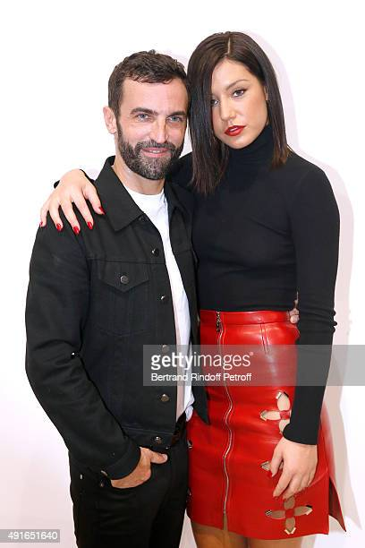 Fashion Designer Nicolas Ghesquiere and Actress Adele Exarchopoulos pose Backstage after the Louis Vuitton show as part of the Paris Fashion Week...