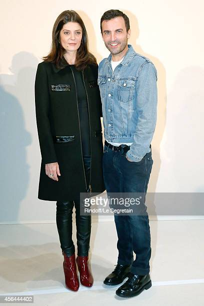 Fashion Designer Nicolas Ghesquiere and Chiara Mastroianni pose backstage after the Louis Vuitton show as part of the Paris Fashion Week Womenswear...