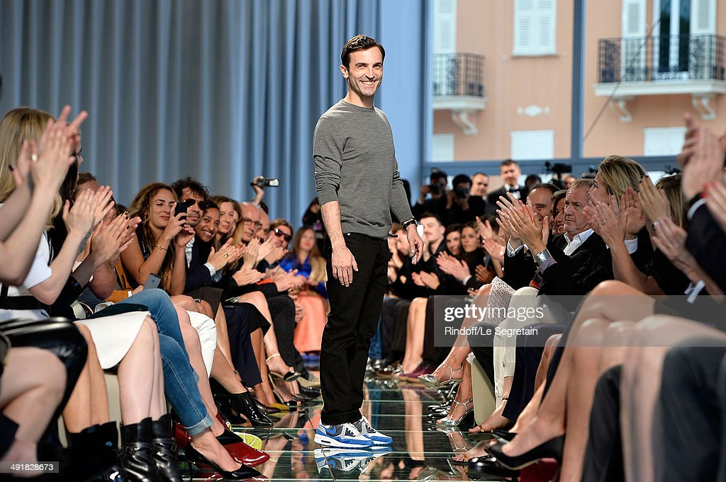 Fashion designer <a gi-track='captionPersonalityLinkClicked' href=/galleries/search?phrase=Nicolas+Ghesquiere+-+Fashion+Designer&family=editorial&specificpeople=4921852 ng-click='$event.stopPropagation()'>Nicolas Ghesquiere</a> appears at the end of the runway during the Louis Vuitton Cruise Collection Show 2015 at Palais Princier on May 17, 2014 in Monte-Carlo, Monaco.