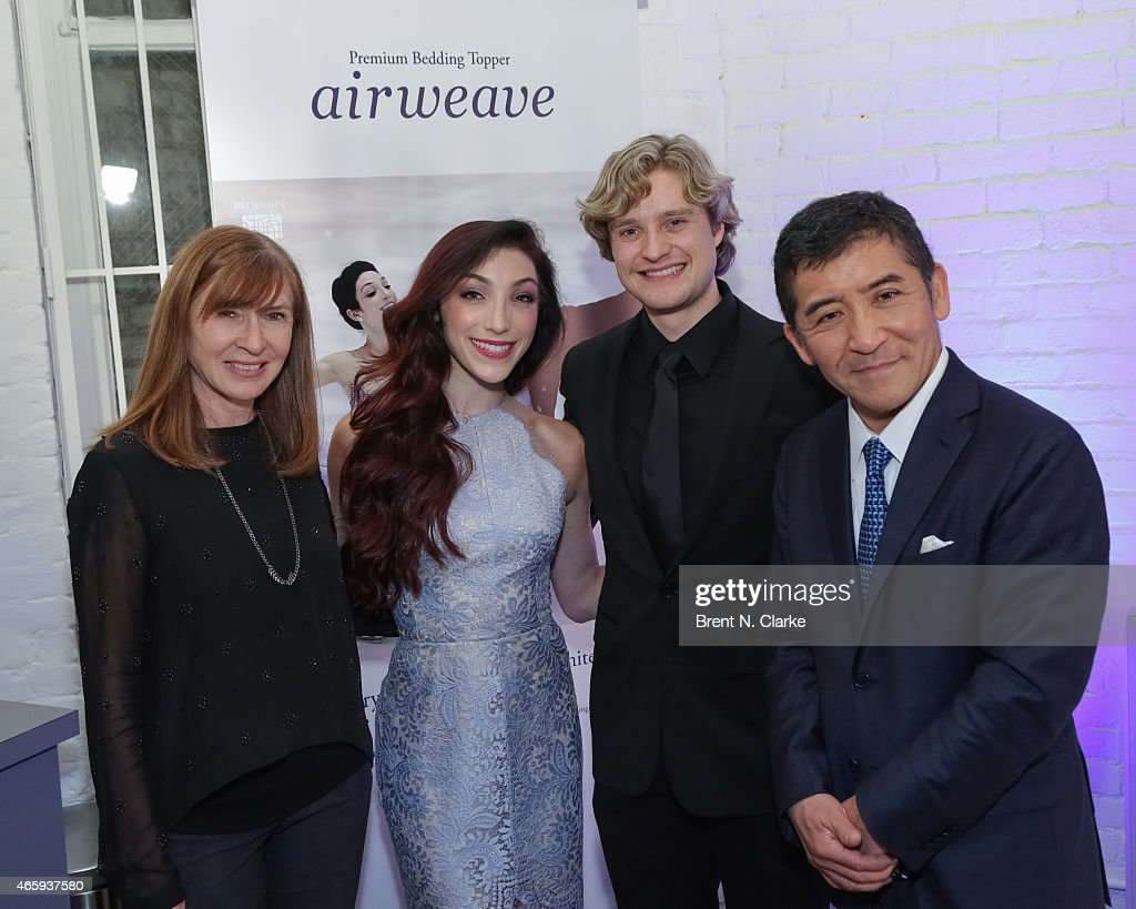 Fashion designer Nicole Miller, 2014 Olympic Gold Medal Ice Dancing champions <a gi-track='captionPersonalityLinkClicked' href=/galleries/search?phrase=Meryl+Davis&family=editorial&specificpeople=3995758 ng-click='$event.stopPropagation()'>Meryl Davis</a> and <a gi-track='captionPersonalityLinkClicked' href=/galleries/search?phrase=Charlie+White+-+Figure+Skater&family=editorial&specificpeople=6691356 ng-click='$event.stopPropagation()'>Charlie White</a> and Airweave President and CEO <a gi-track='captionPersonalityLinkClicked' href=/galleries/search?phrase=Motokuni+Takaoka&family=editorial&specificpeople=14098125 ng-click='$event.stopPropagation()'>Motokuni Takaoka</a> attend the Airweave Soho Store Opening at Airweave on March 11, 2015 in New York City.