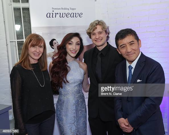 Fashion designer Nicole Miller 2014 Olympic Gold Medal Ice Dancing champions Meryl Davis and Charlie White and Airweave President and CEO Motokuni...