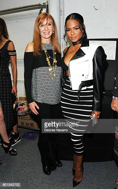 Fashion designer Nicole Miller and singer/actress Christina Milian pose backstage for the Nicole Miller show during New York Fashion Week The Shows...
