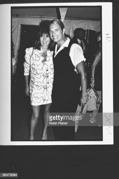 Fashion designer Nicole Miller w singer David Lee Roth at the premiere party for the movie A League of Their Own at Tavern on the Green Restaurant