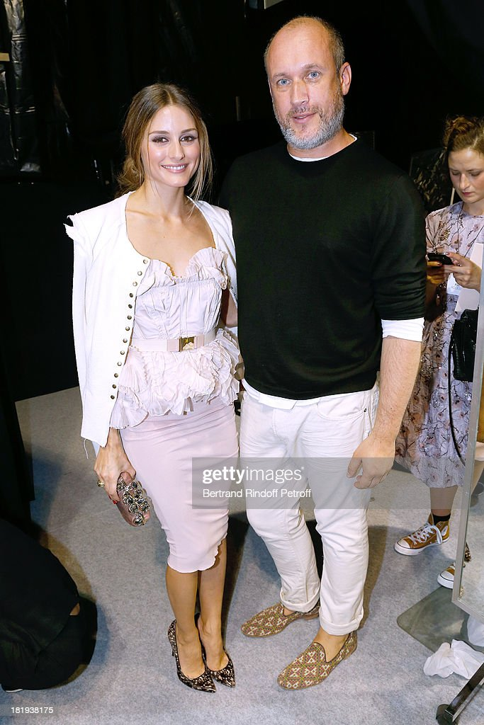 Fashion Designer of Nina Ricci Peter Copping poses with actress <a gi-track='captionPersonalityLinkClicked' href=/galleries/search?phrase=Olivia+Palermo&family=editorial&specificpeople=2639086 ng-click='$event.stopPropagation()'>Olivia Palermo</a> dressed in Nina Ricci attends Nina Ricci show as part of the Paris Fashion Week Womenswear Spring/Summer 2014, held at Garden of Tuilleries on September 26, 2013 in Paris, France.