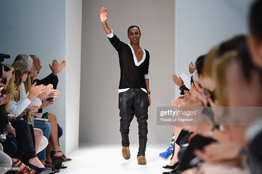 Fashion designer Olivier Rousteing acknowledges applause following the Balmain show as part of the Paris Fashion Week Womenswear Spring/Summer 2013 at Grand Hotel Intercontinental on September 26, 2013 in Paris, France.